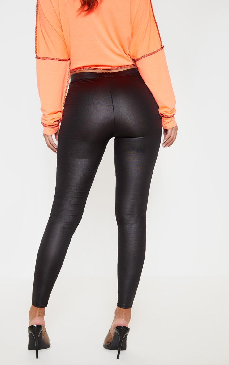 Petite Black Stretch PU Leggings 4