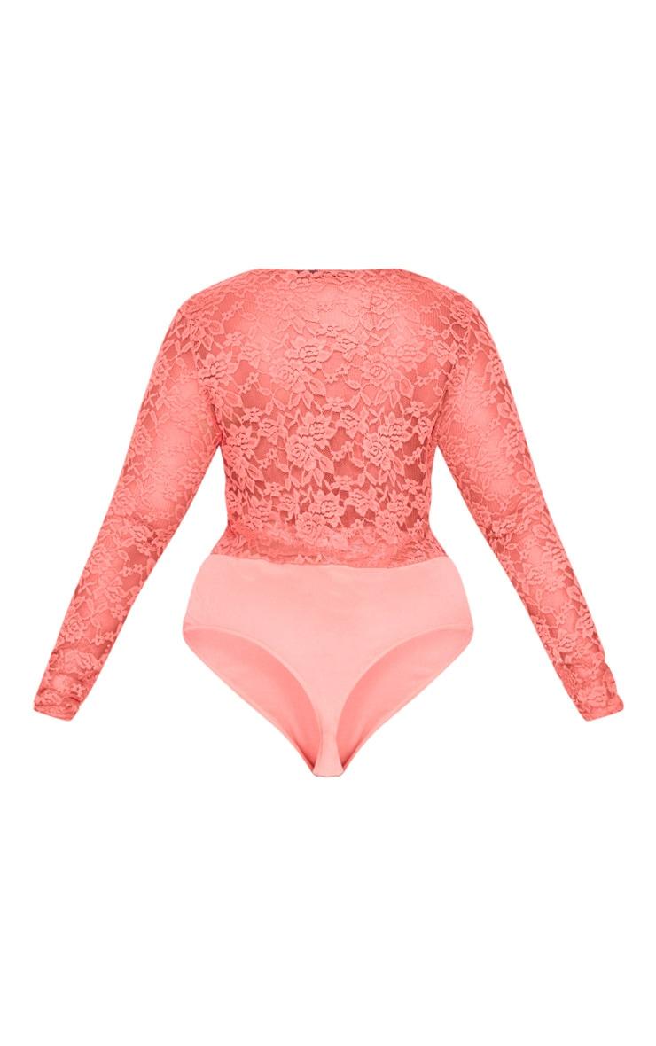 Plus Coral Sheer Lace Plunge Long Sleeve Bodysuit 4