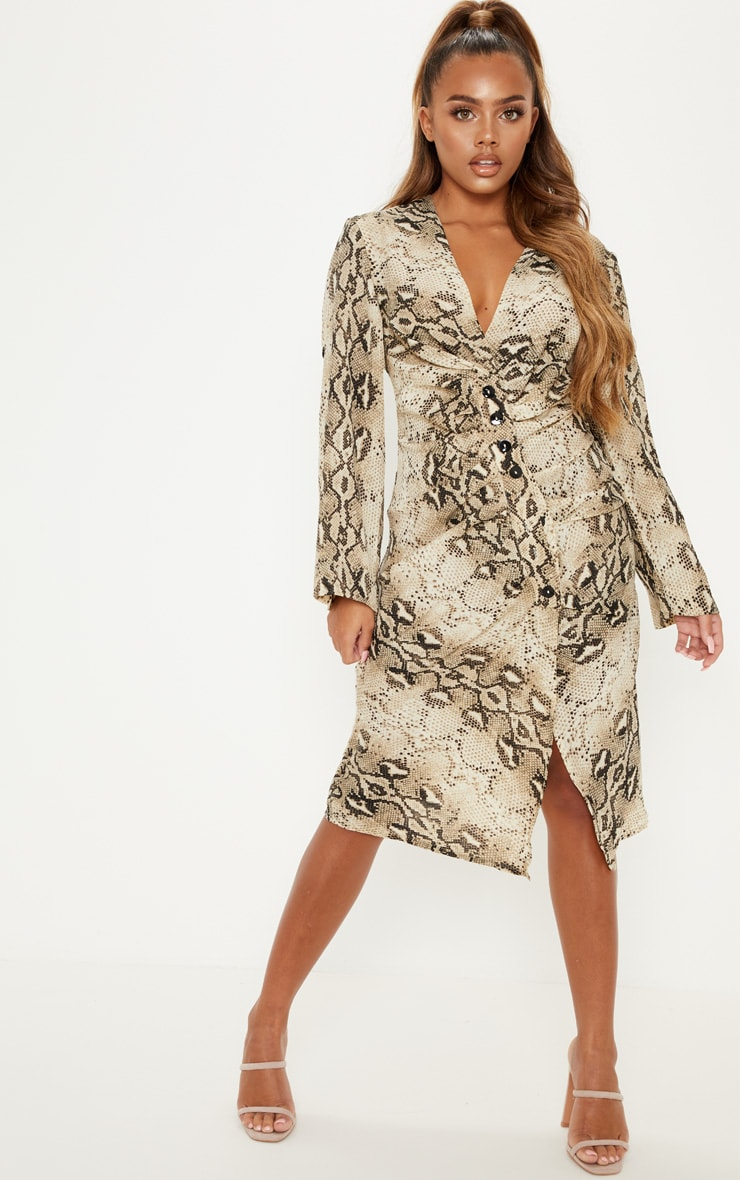 Grey Snake Print Ruched Button Front Midi Dress