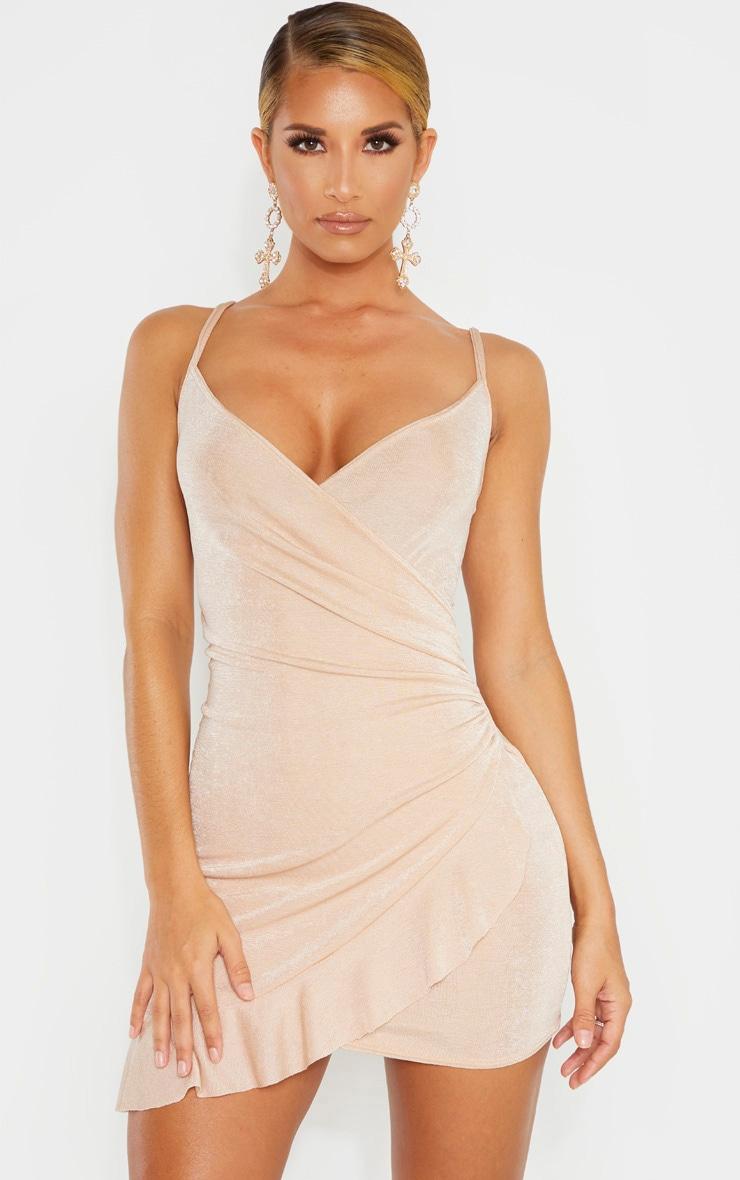 Champagne Textured Slinky Frill Hem Strappy Bodycon Dress 1