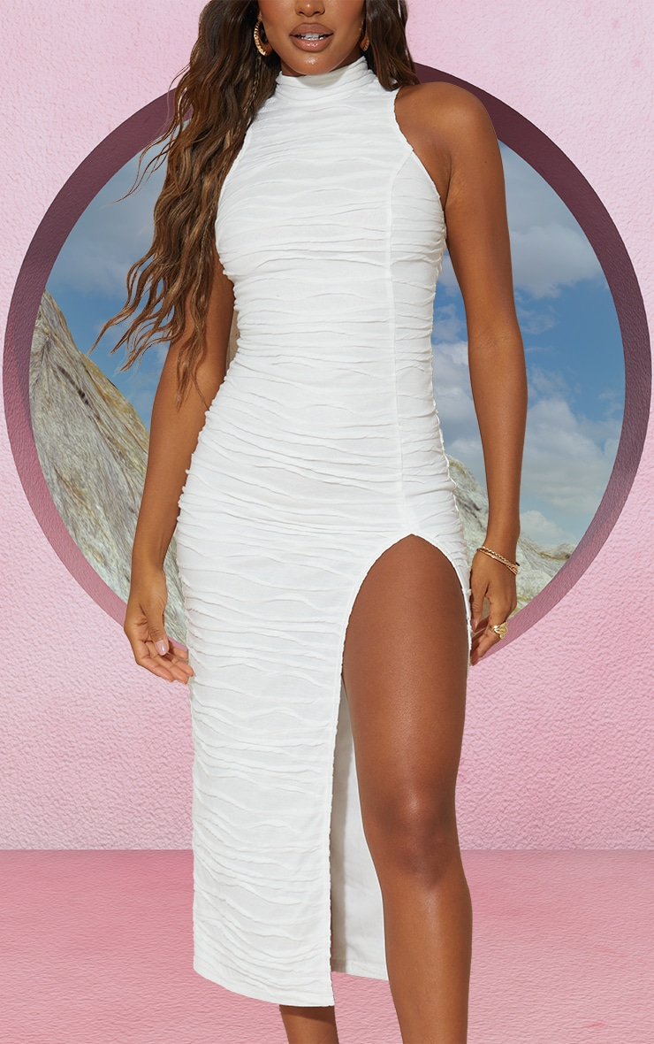 White Exposed Seam Detail High Neck Sleeveless Midaxi Dress 4