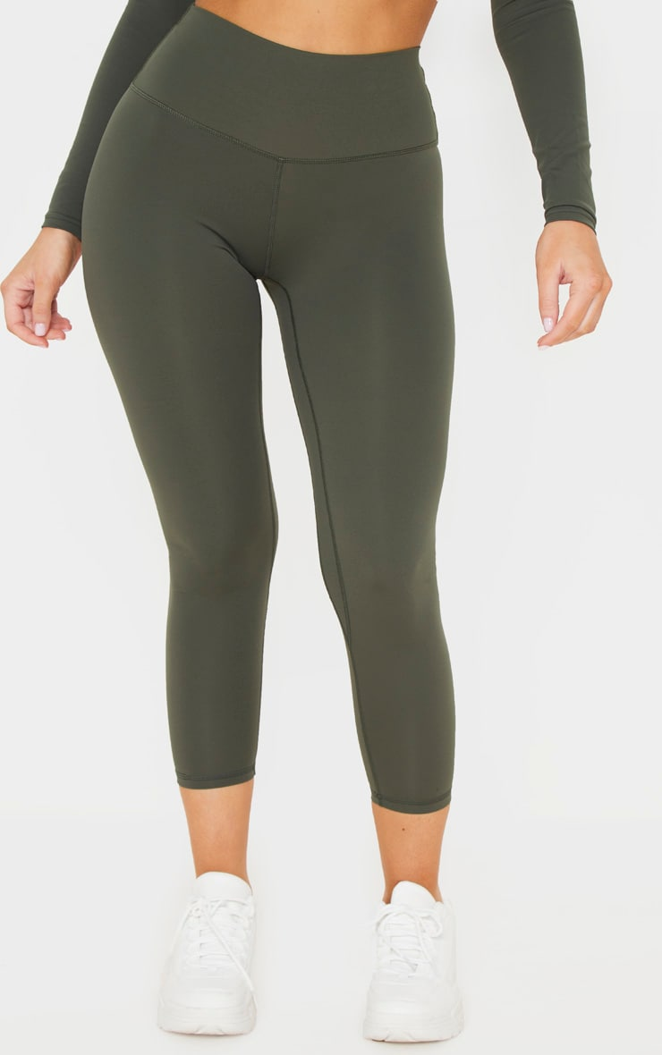 Khaki Sculpt Luxe Cropped Gym Legging 2