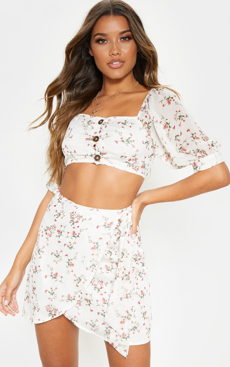 White Ditsy Floral Bardot Puff Sleeve Crop Top 1