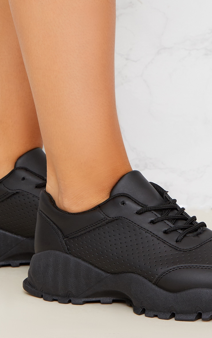 Black Chunky Lace Up Sneakers 4