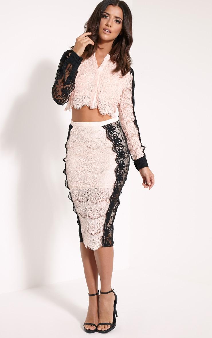 Ani Nude Lace Midi Skirt 1