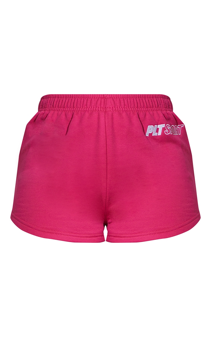 PRETTYLITTLETHING Hot Pink Embroidered Sports Shorts 6