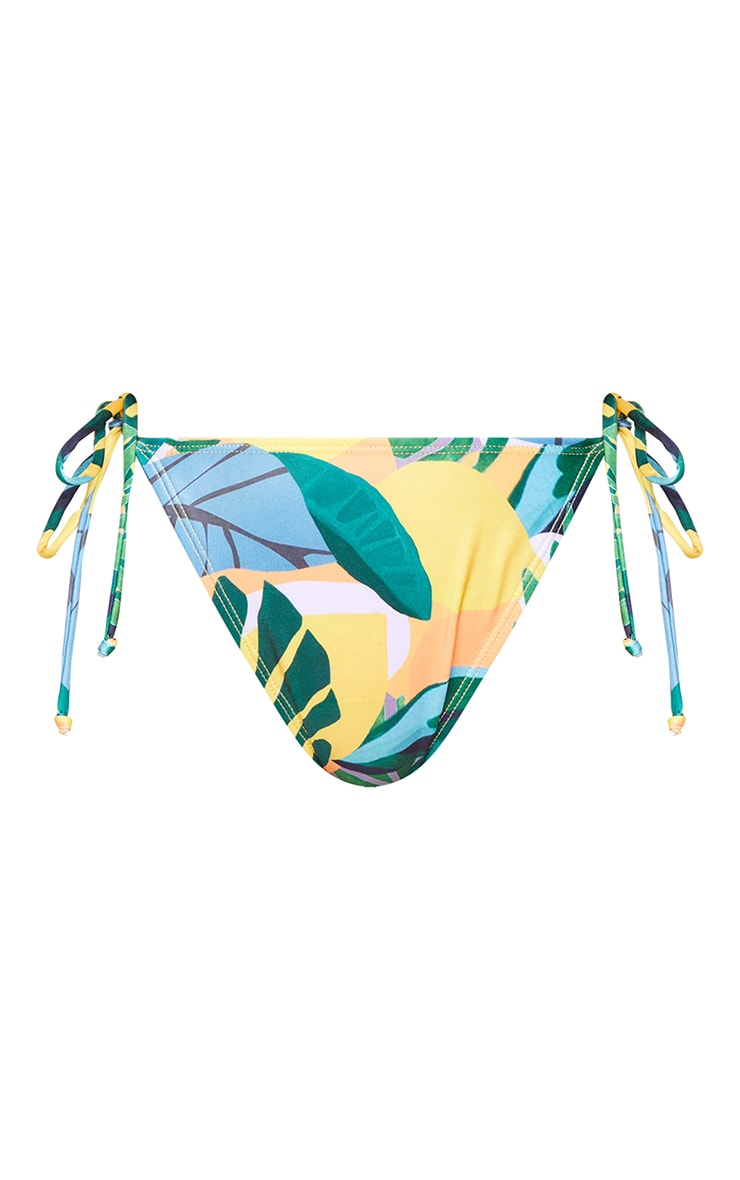 Recycled Yellow  Floral Tie Side Bikini Bottoms 5