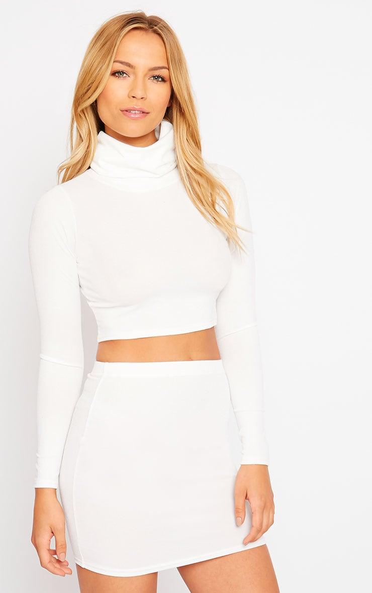 Emilia Cream Crepe Roll Neck Crop Top 1
