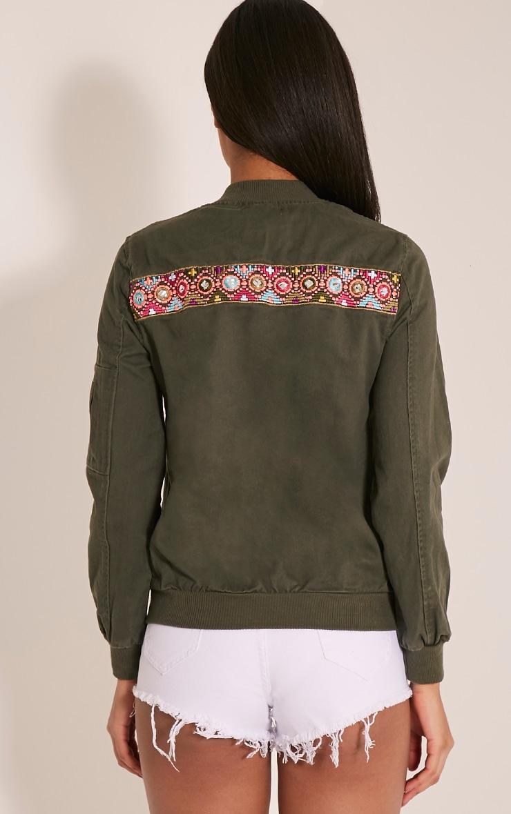 Vivie Khaki Embroidered Detail Bomber Jacket 2