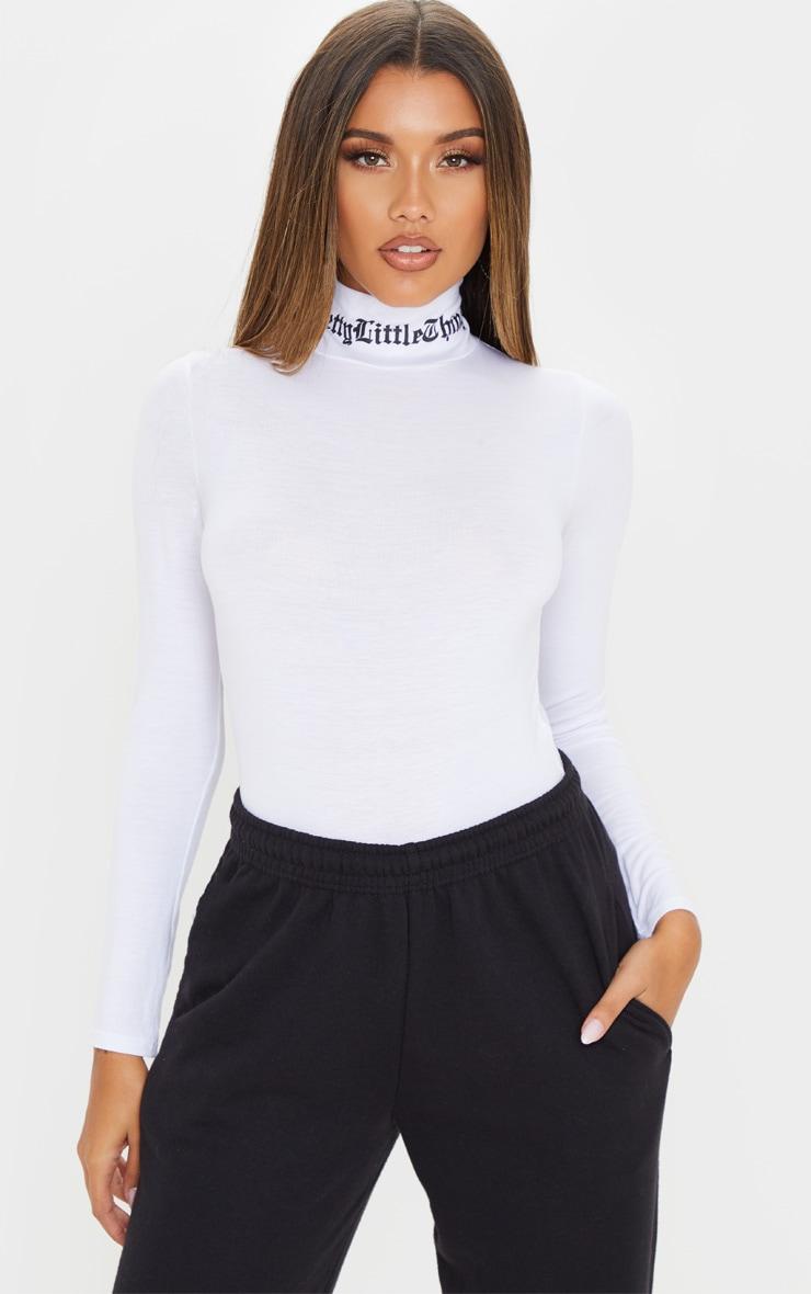 PRETTYLITTLETHING White Gothic High Neck Bodysuit 2