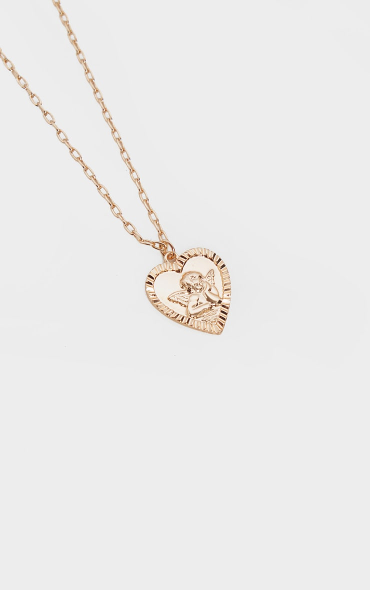 Gold T-Bar And Cherub Heart Layering Necklace 3