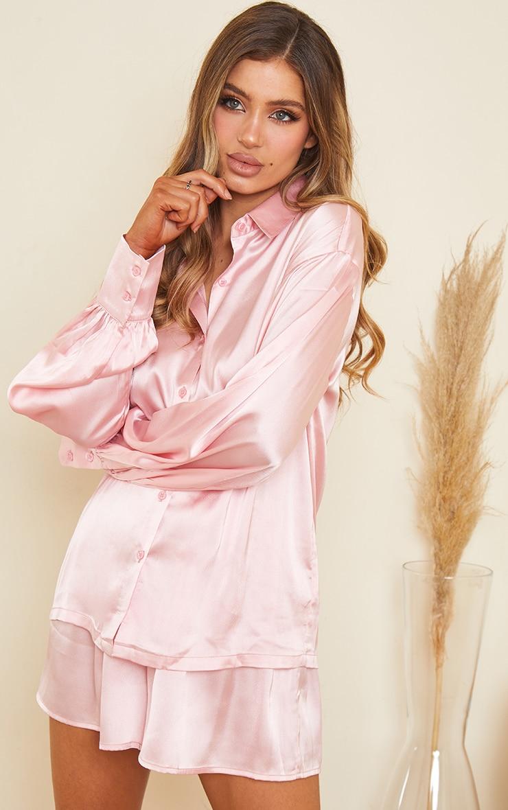 Pink Oversized Short Satin PJ Set 1