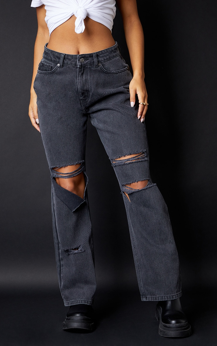 Washed Black Baggy Low Rise Ripped Boyfriend Jeans 2