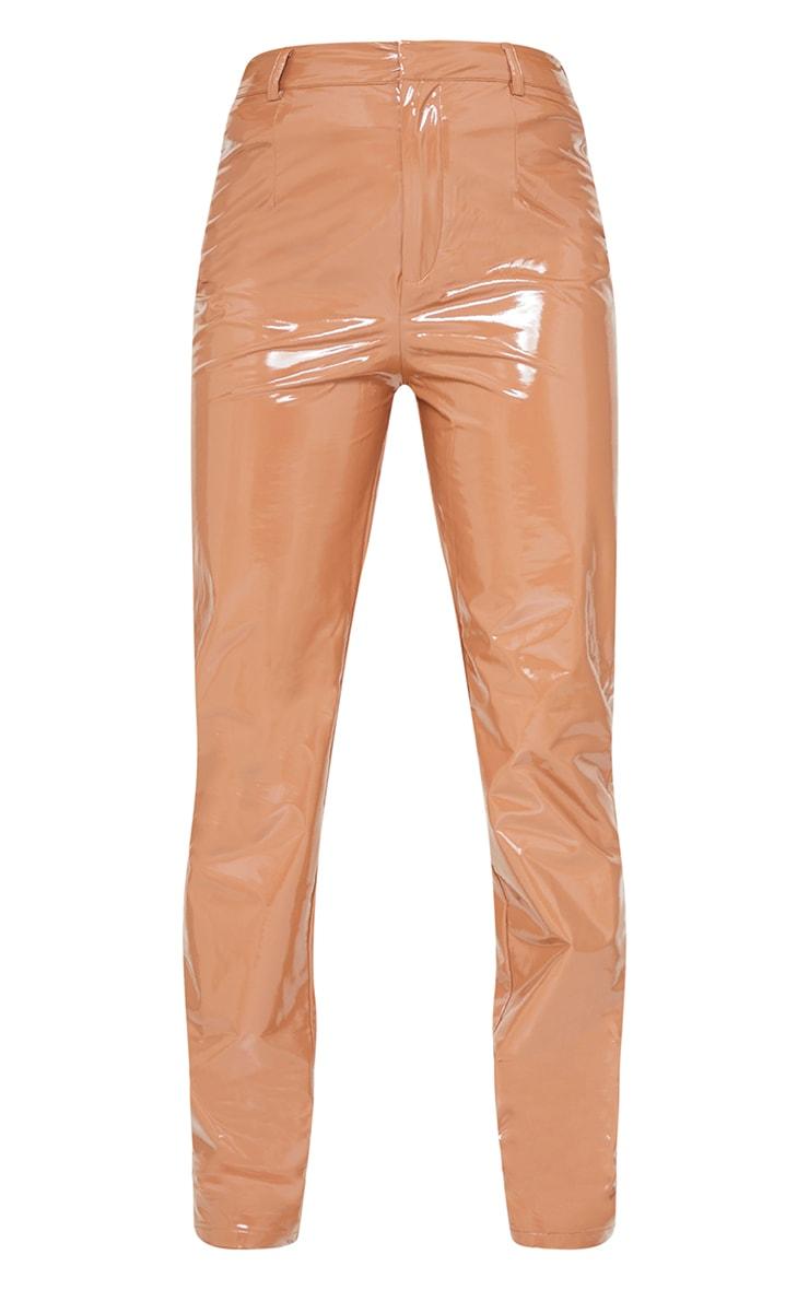 Petite Tan Straight Leg Vinyl Pants 5