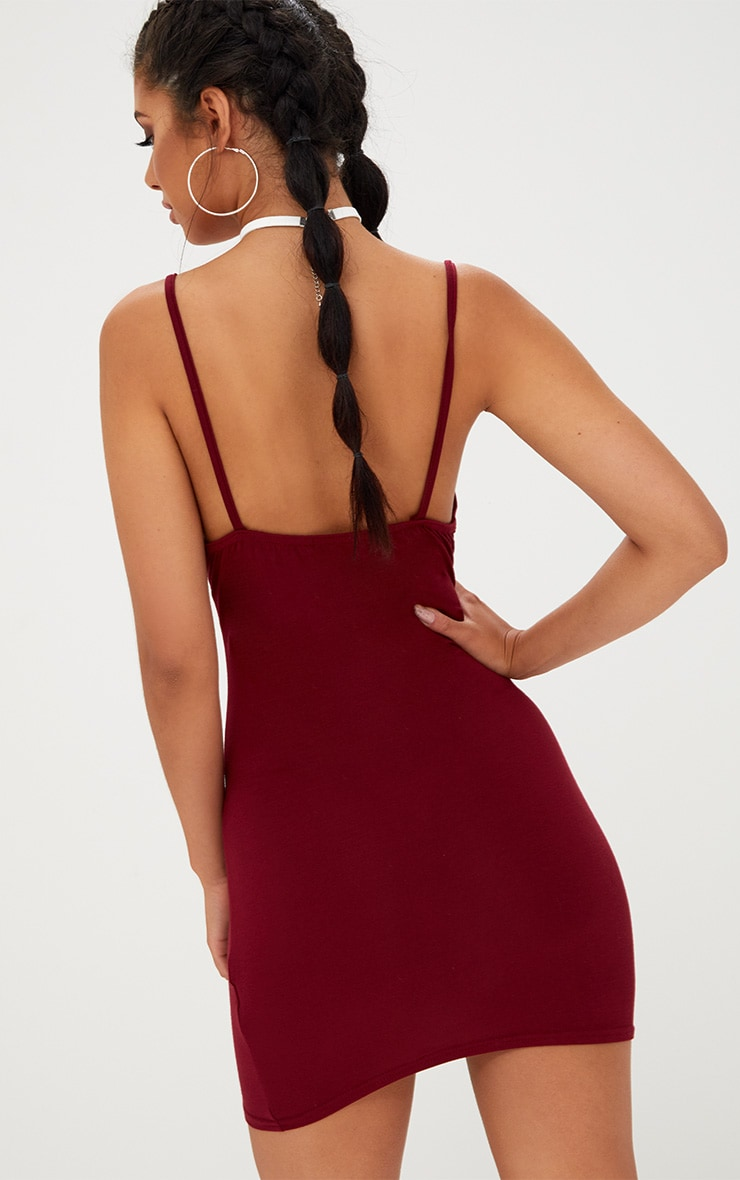 Basic Burgundy Strappy Bodycon Dress 2