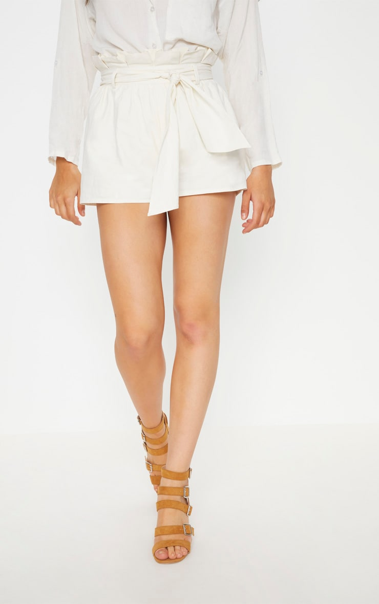 Cream Paperbag Tie Waist Short 2