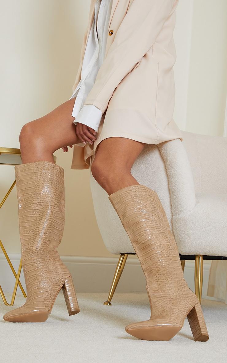 Nude Knee High Point Block Heel Boots 1
