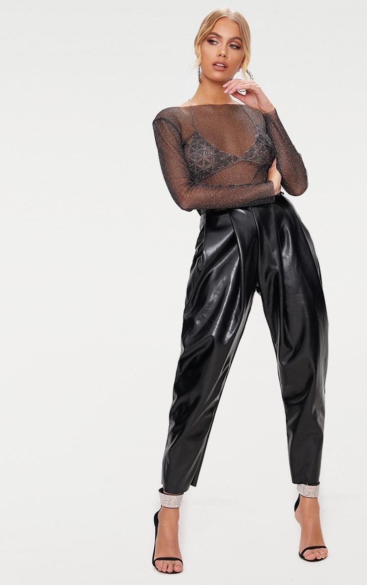 Black Sheer Lurex Long Sleeve Top 4