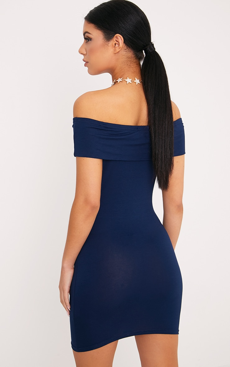 Bethany Navy Bardot Detail Bodycon Dress 2