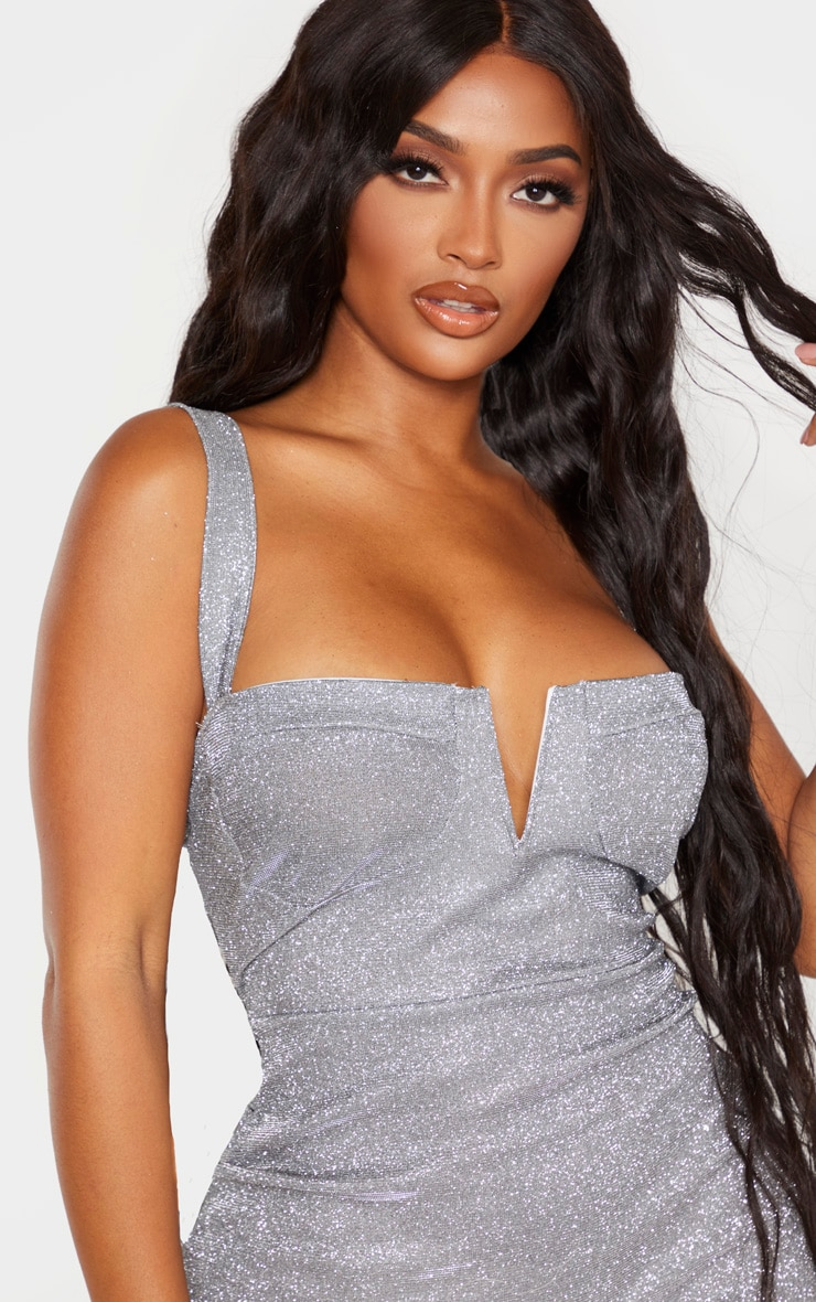 Shape Silver Glitter Cup Detailed Bodycon Dress 5