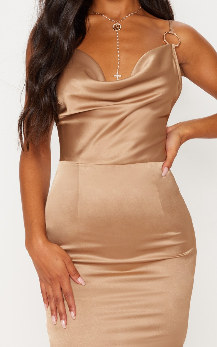 Champagne Satin Cowl Neck Ring Detail Bodycon Dress 6