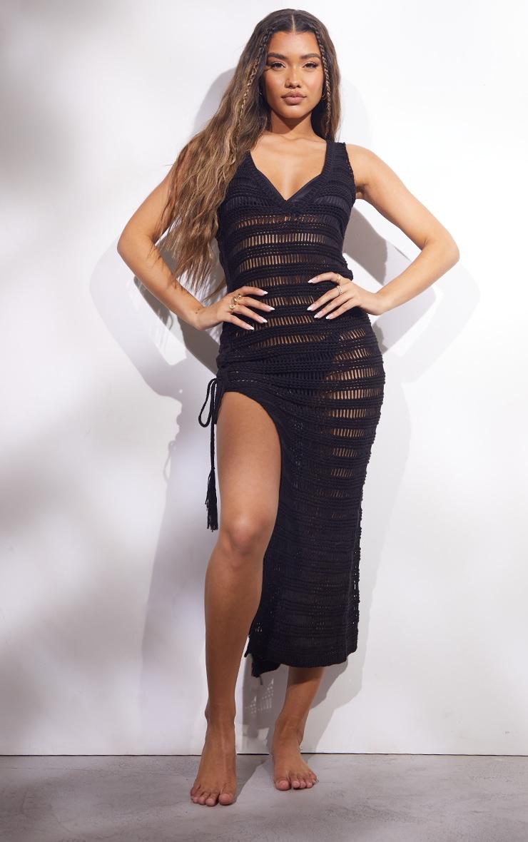 Black Open Stitch Lace Up Side Knitted Midi Dress 4