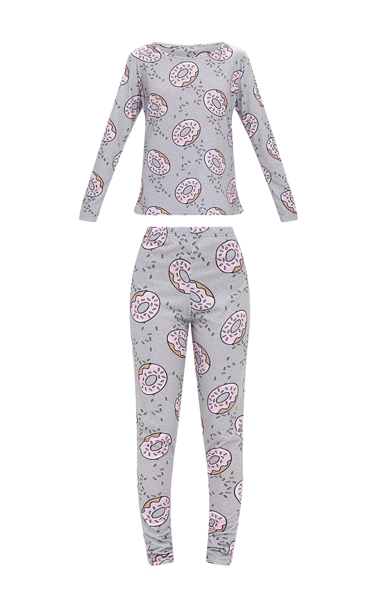 Grey Long Sleeve Doughnut Legging PJ Set 3