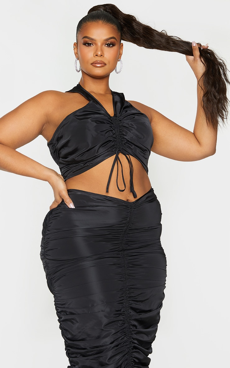 Plus Black Shell Ruched Front Crop Top 1