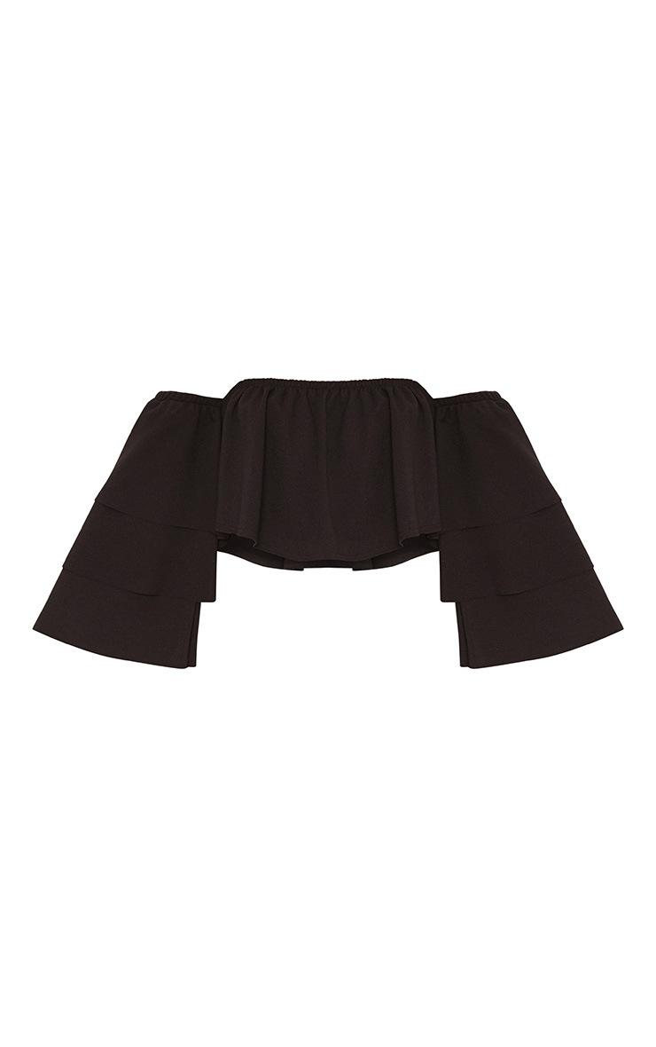 Black Bardot Layered Frill Sleeve Crop Top 3