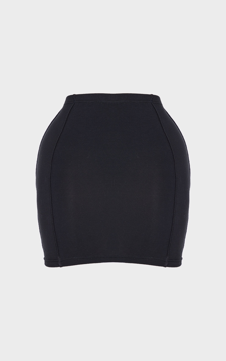 Recycled Shape Black Cotton Overlock Detail Bodycon Skirt 6