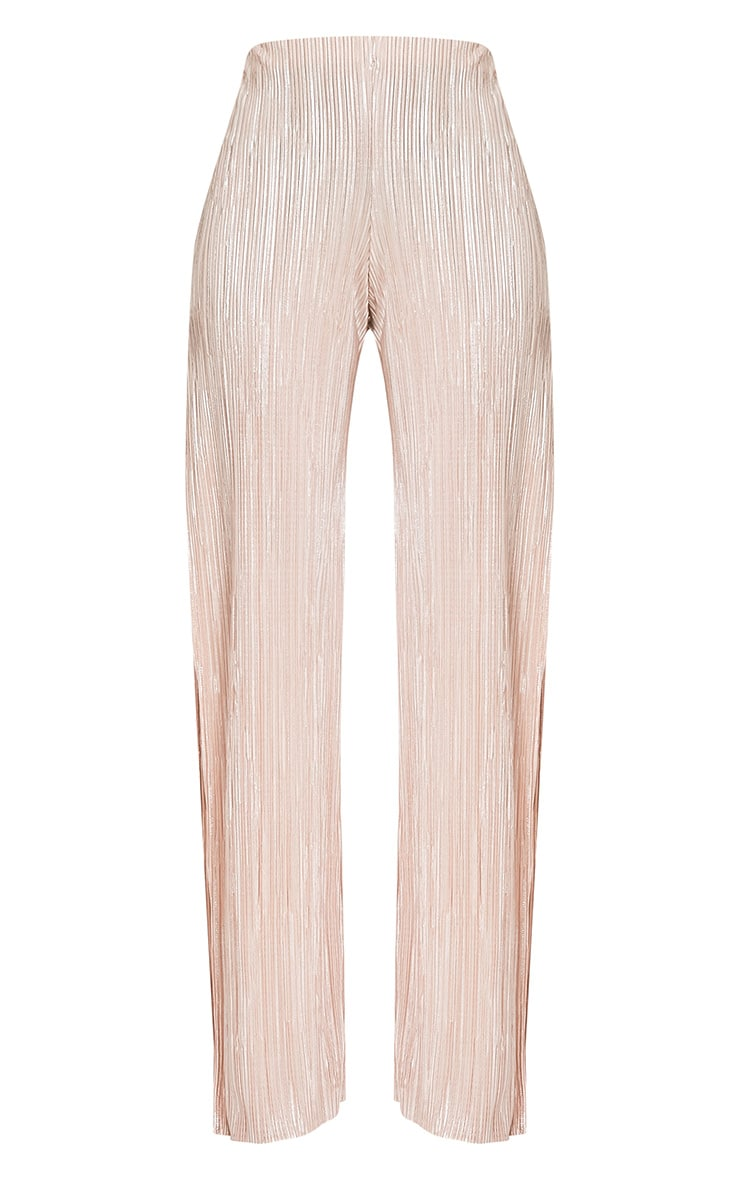 Dena Stone Metallic Pleated Side Split Trousers 3
