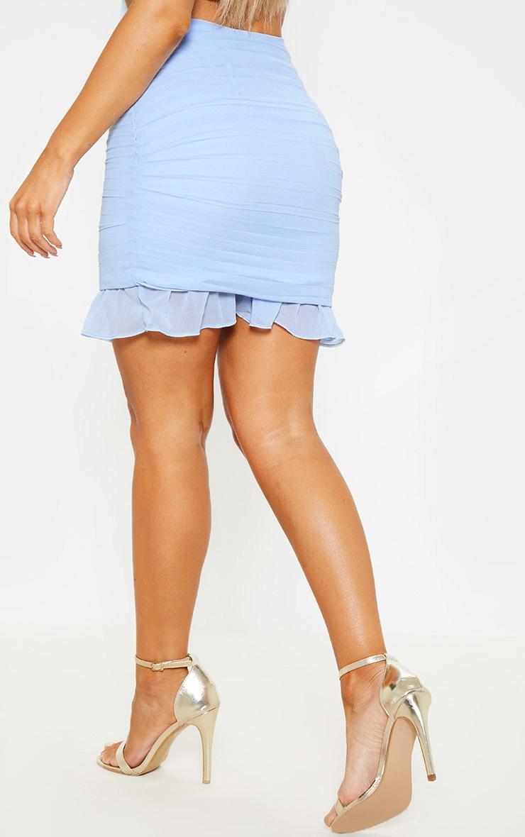 Dusty Blue Ruched Chiffon Mini Skirt 5