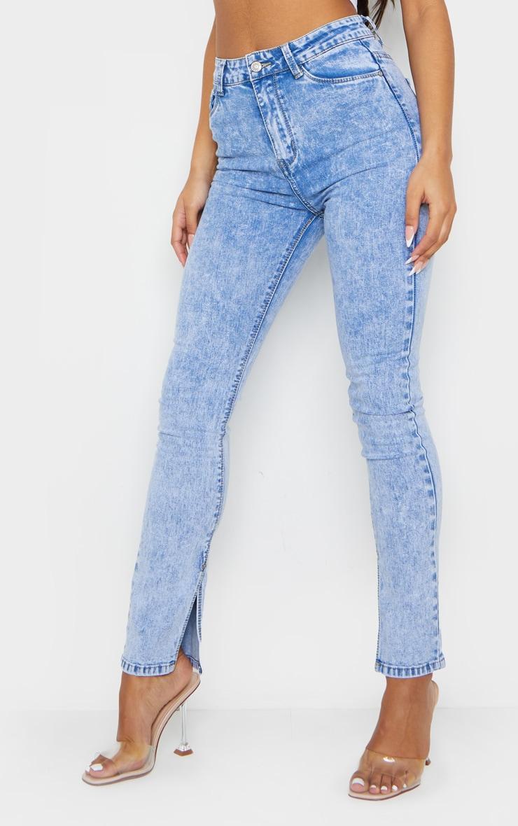 Acid Blue Wash Skinny Split Hem Jeans 2
