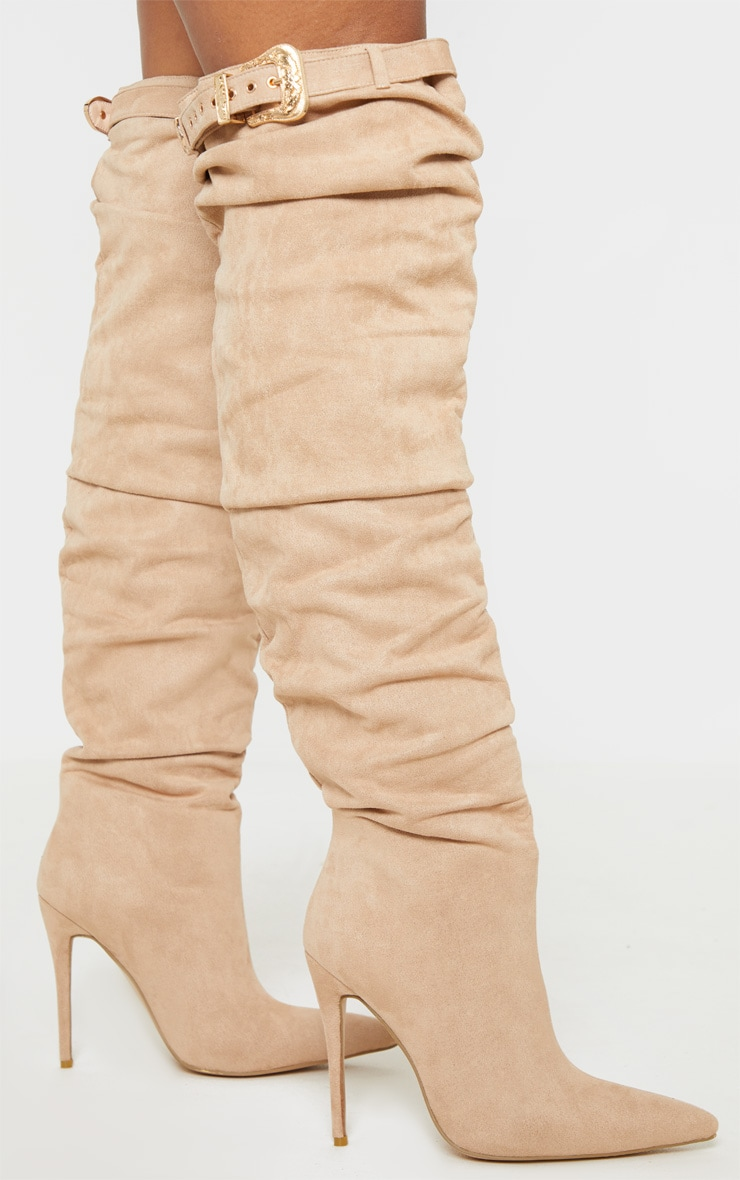 Nude Western Buckle Thigh High Slouch Boot 3