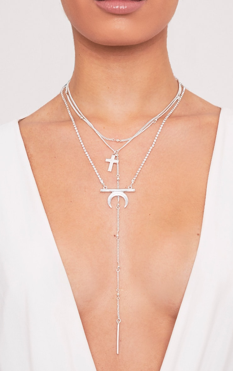 Bilhah Silver Multi Layer Pendant Necklace 1