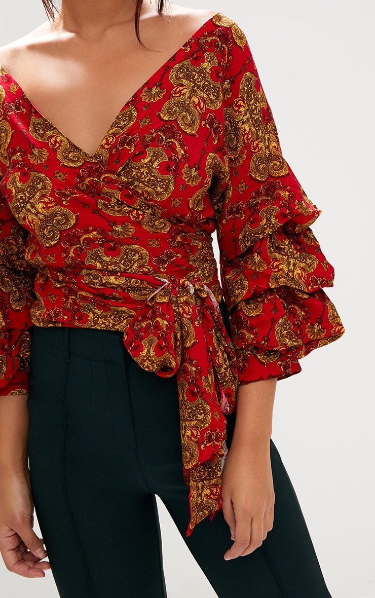 Red Chain Print Ruffle Sleeve Low Shoulder Shirt 5