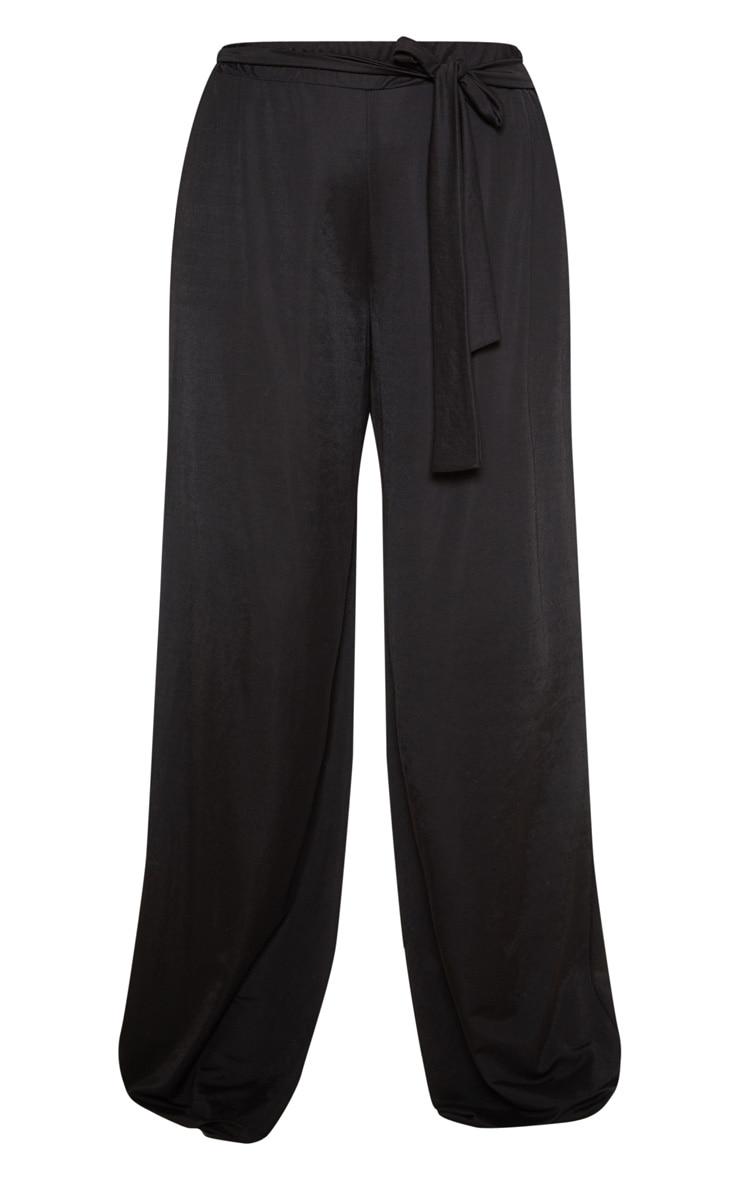 Plus Black Woven Wide Leg Trousers 3
