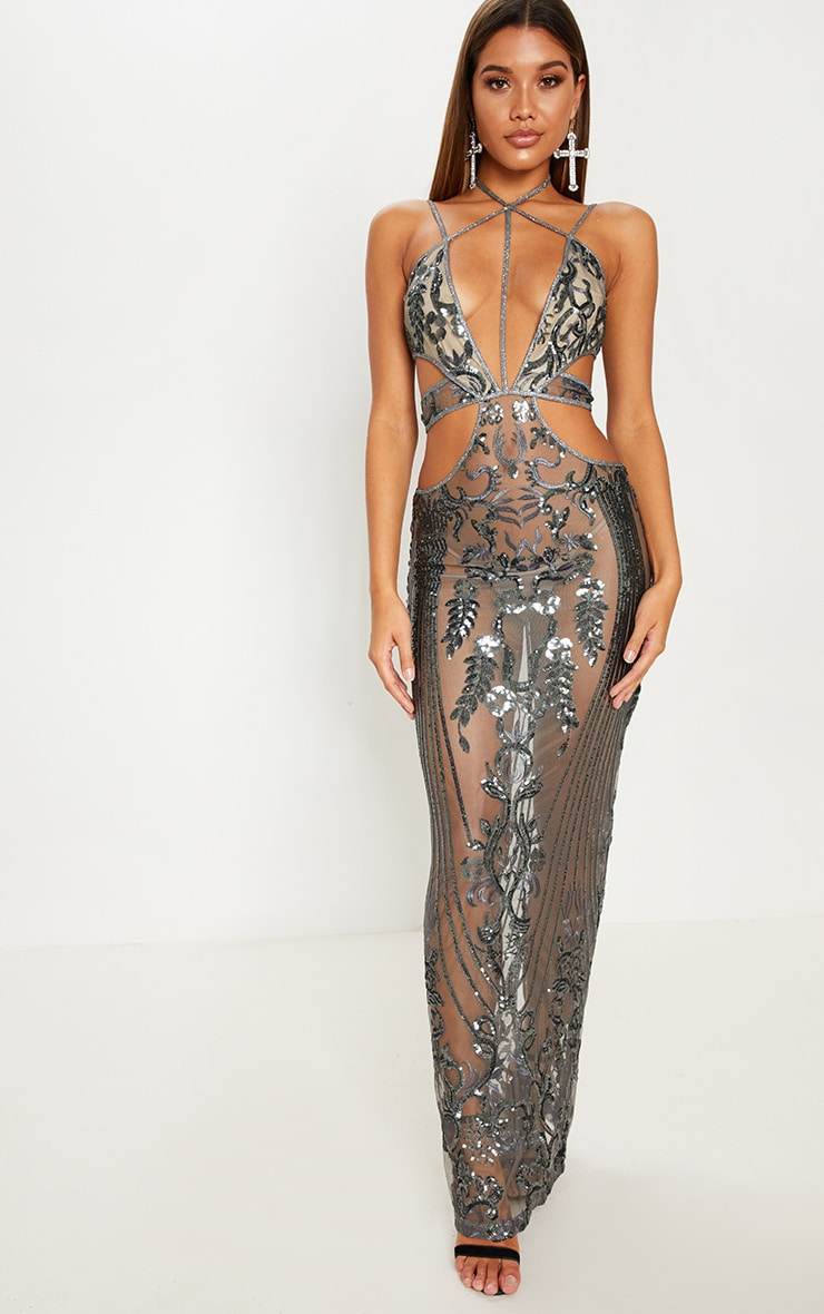 f08b0452e6 Silver Sequin Sheer Plunge Cut Out Maxi Dress image 1