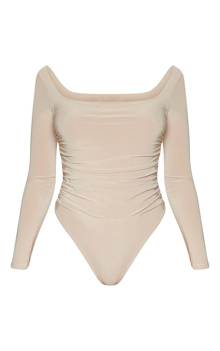 Stone Slinky Ruched Long Sleeve Square Neck Bodysuit 5