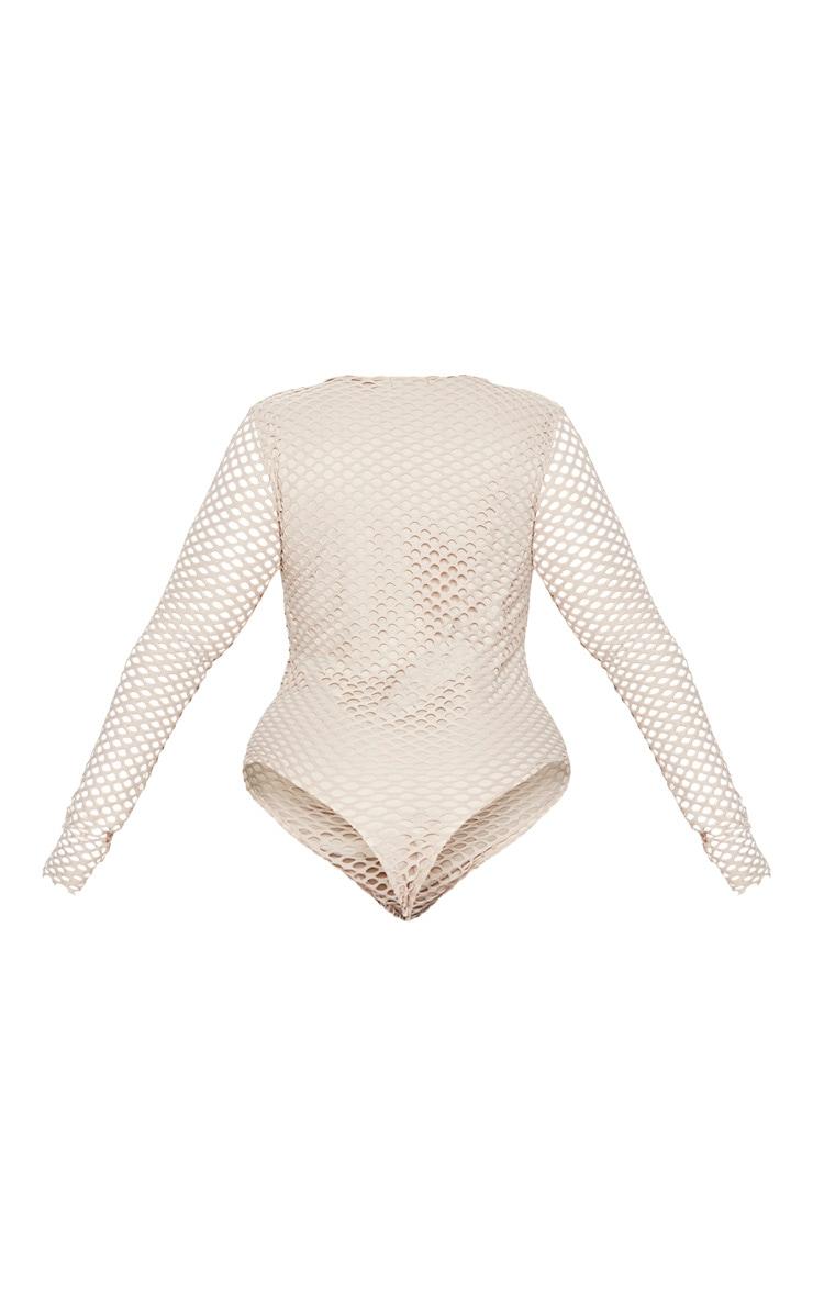 Plus Nude Fishnet Long Sleeve Bodysuit 4