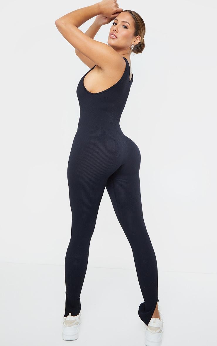 Shape Black Contour Ribbed Scoop Neck Jumpsuit 2