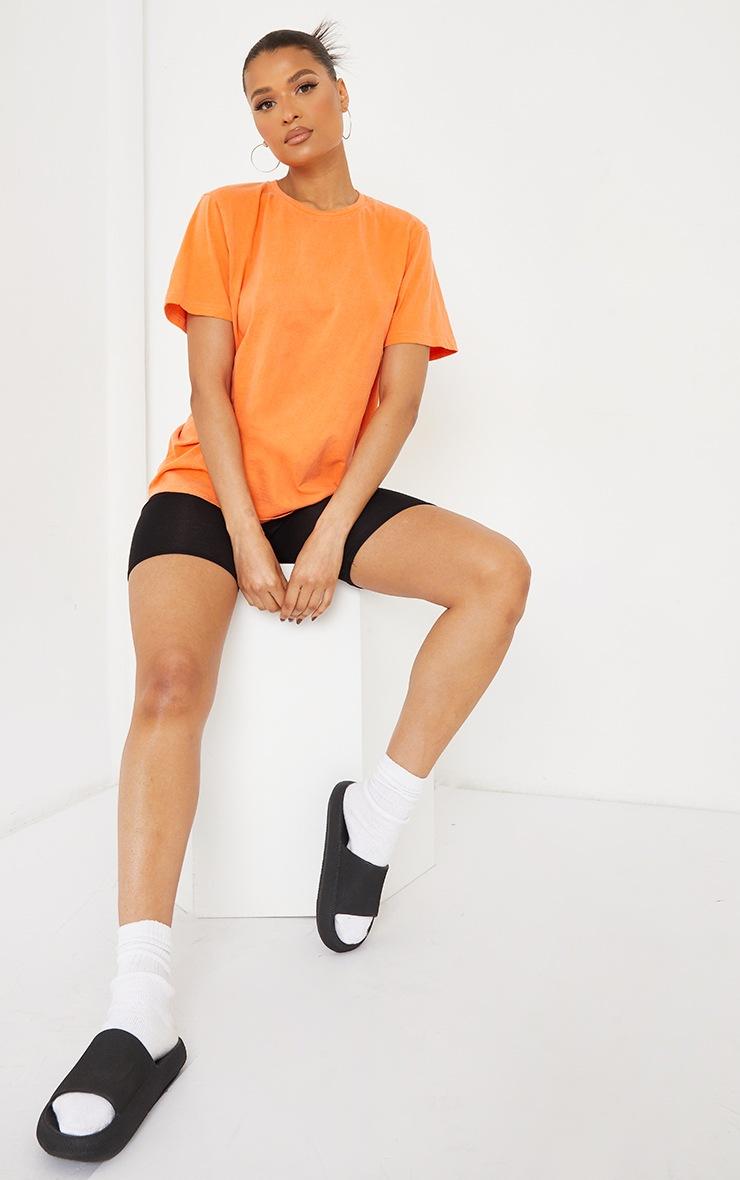 Orange LA Circle Print Washed T Shirt 3