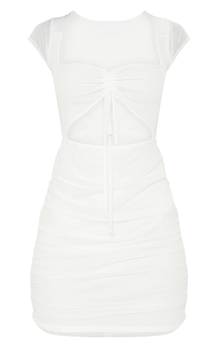 White Square Neck Mesh Ruched Cut Out Bodycon Dress 3