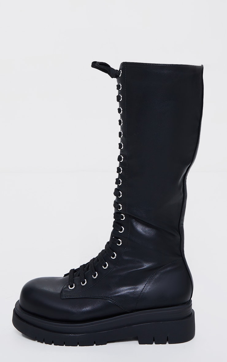Black PU Lace Up Knee High Double Sole Boots 4