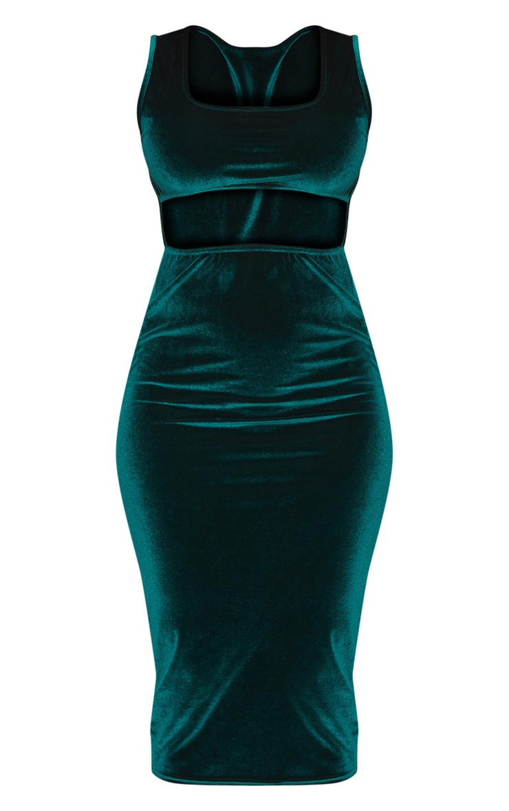 Emerald Green Velvet Cut Out Midaxi Dress 3