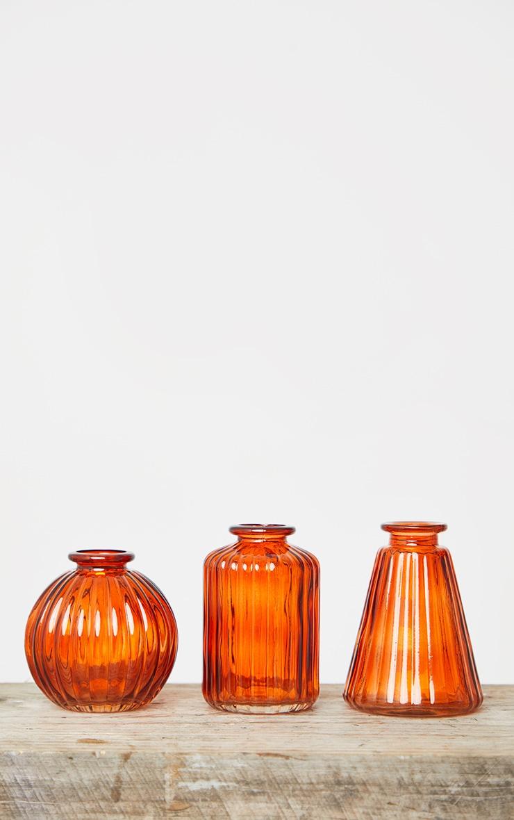 Amber Glass Bud Vases - Set of 3 4
