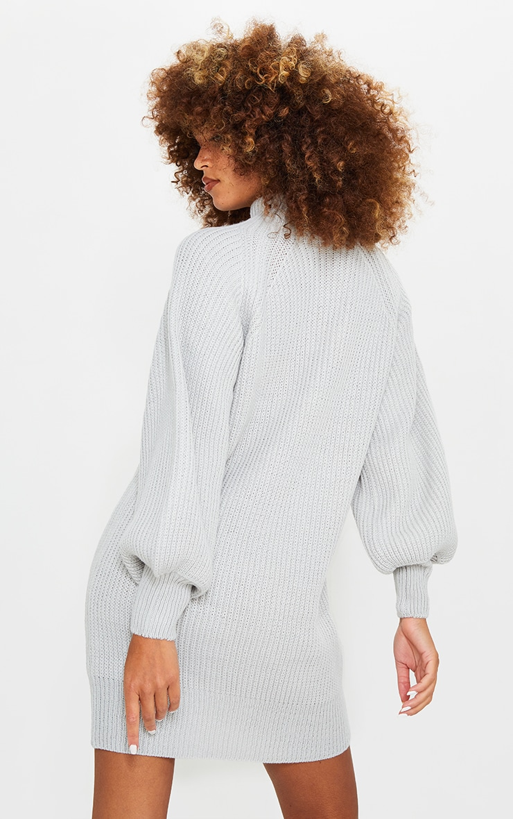 Light Grey Balloon Sleeve Funnel Neck Sweater Dress 2
