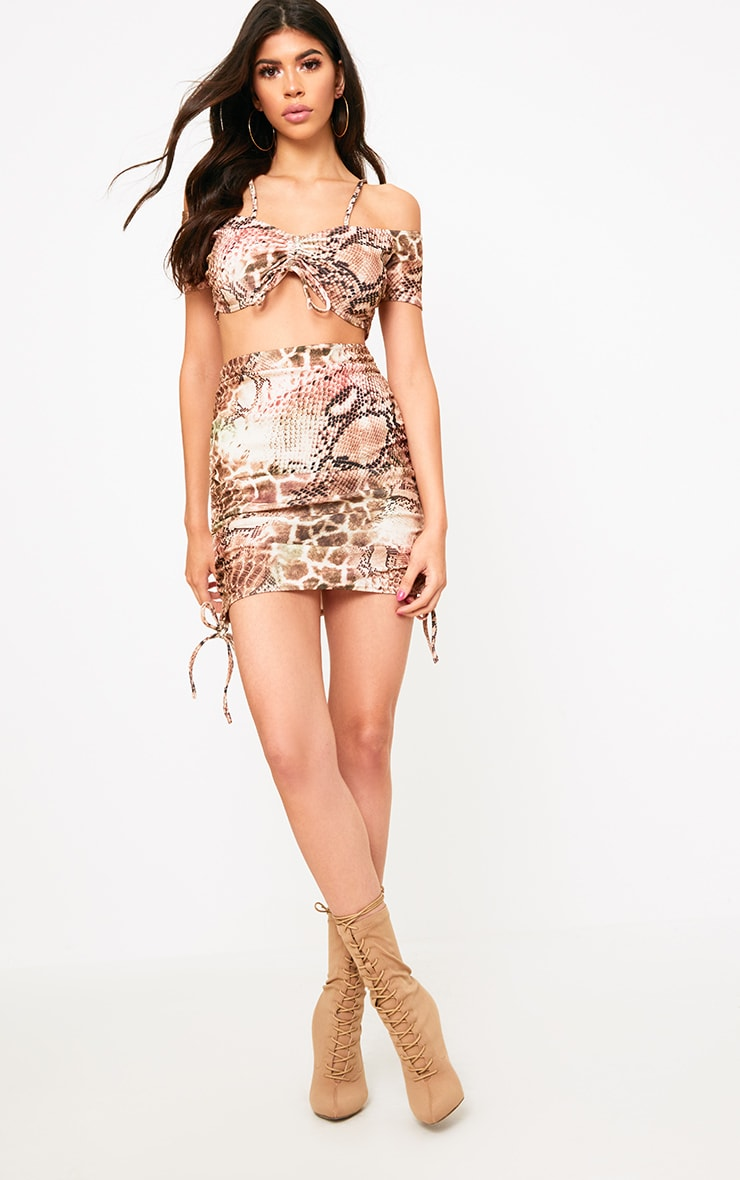 Brown Snake Print Crepe Ruched Bardot Crop Top  4
