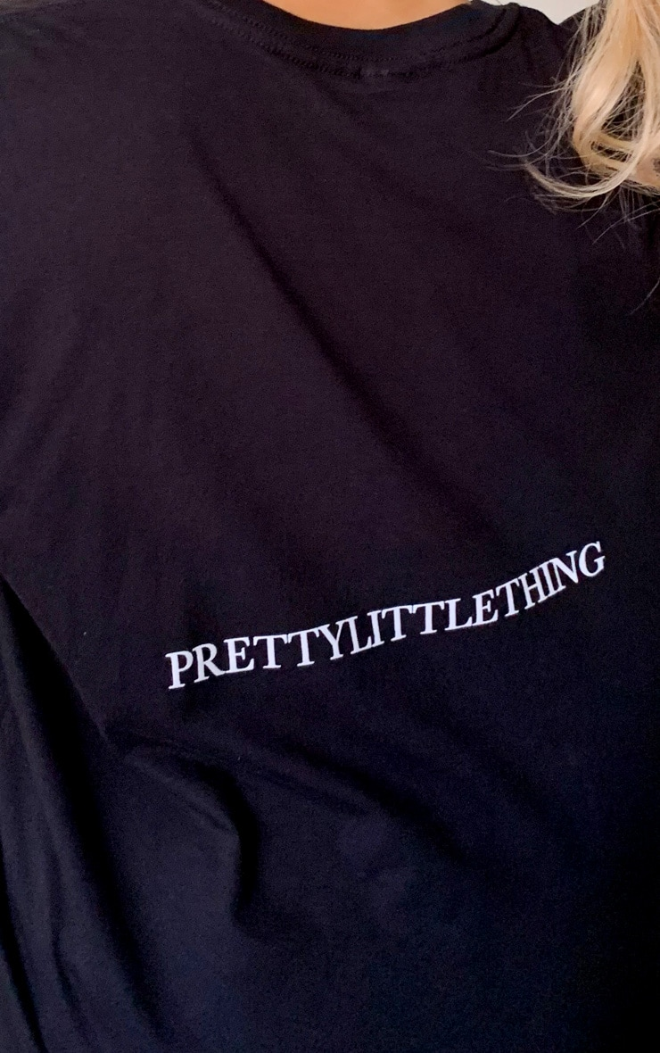 PRETTYLITTLETHING Black Oversized Slogan Back T Shirt 4