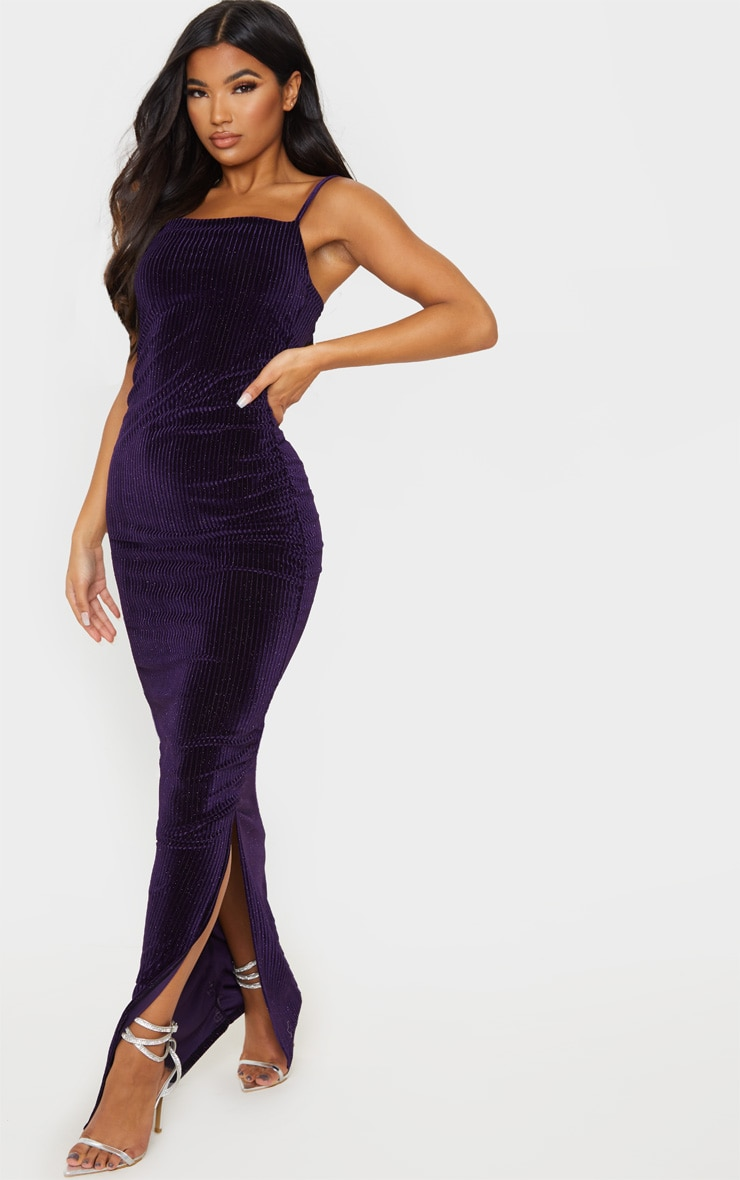 Purple Velvet Glitter Stripe Ruched Midaxi Dress 1